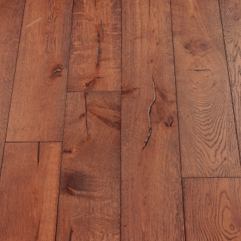 Carmine Distressed - 190mm x 18/3mm x Random Lengths Brush & UV Oiled Engineered Wood Flooring