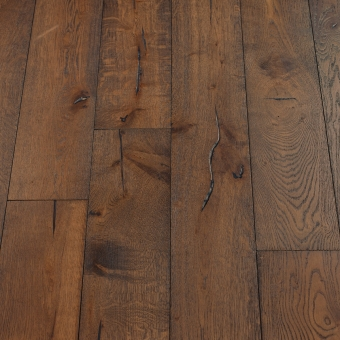 Coffee Distressed - 190mm x 18/3mm x Random Lengths Brush & UV Oiled Engineered Wood Flooring