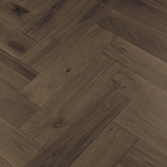 Black Olive Herringbone XL Engineered 150mm x 14/3mm x 600mm Rustic Grade Brush & UV Oiled Wood Flooring