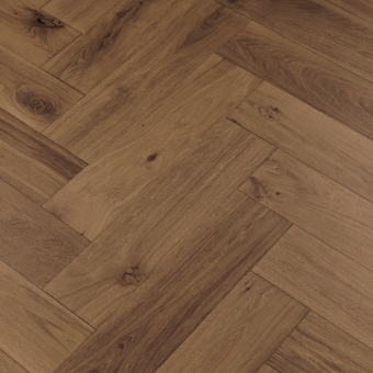 Coffee Herringbone XL Engineered 150mm x 14/3mm x 600mm Rustic Grade Brush & UV Oiled Wood Flooring