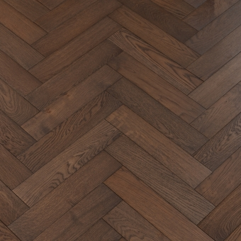 Bark Herringbone - 90mm x 14/3mm x 400mm Rustic Grade Brush & UV Oiled Engineered Wood Flooring