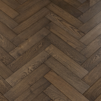 Black Olive Herringbone - 90mm x 14/3mm x 400mm Rustic Grade Brush & UV Oiled Engineered Wood Flooring