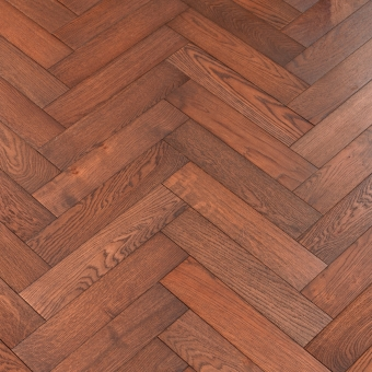 Carmine Herringbone - 90mm x 14/3mm x 400mm Rustic Grade Brush & UV Oiled Engineered Wood Flooring