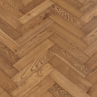 Chestnut Herringbone - 90mm x 14/3mm x 400mm Rustic Grade Brush & UV Oiled Engineered Wood Flooring