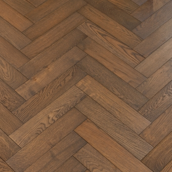 Coffee Herringbone - 90mm x 14/3mm x 400mm Rustic Grade Brush & UV Oiled Engineered Wood Flooring