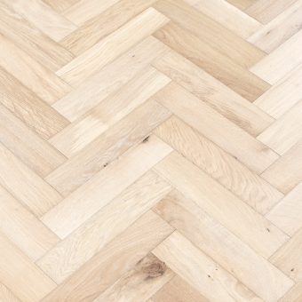 Ivory Herringbone - 90mm x 14/3mm x 400mm Rustic Grade Brush & UV Oiled Engineered Wood Flooring