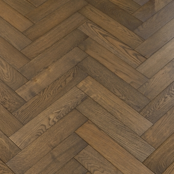 Mocha Herringbone - 90mm x 14/3mm x 400mm Rustic Grade Brush & UV Oiled Engineered Wood Flooring
