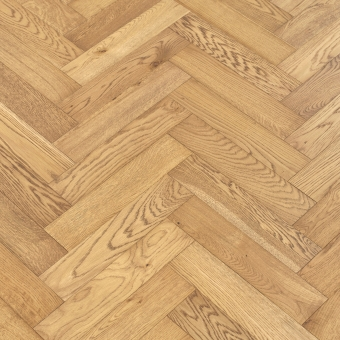 Natural Herringbone - 90mm x 14/3mm x 400mm Rustic Grade Brush & UV Oiled Engineered Wood Flooring