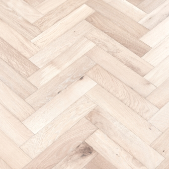 Snow Herringbone - 90mm x 14/3mm x 400mm Rustic Grade Brush & UV Oiled Engineered Wood Flooring